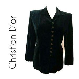 Christian Dior Vintage Velvet Black Jacket Size 16